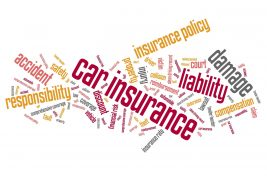 Car insurance policy concepts word cloud illustration. Word collage concept.